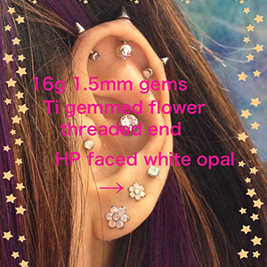 18g/16g  1.5mm gems (Threaded) -- Photo # 65161