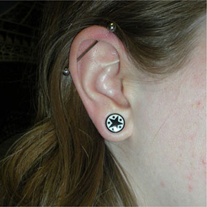 00g/10mm  Star and dots - Black (pair) -- Photo # 28753