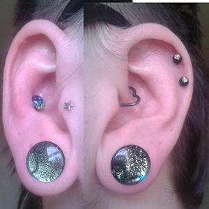 12mm  DF Double sided dichro plugs (teal/purple)(pair) -- Photo # 51285